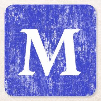 Posavasos Cuadrado De Papel Monograma de madera apenado azul del MB
