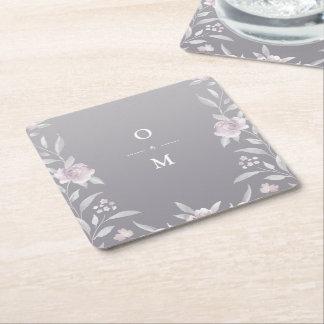 Posavasos Cuadrado De Papel Monograma de plata floral elegante del boda del