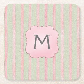 Posavasos Cuadrado De Papel Monograma rosado y gris elegante de la raya