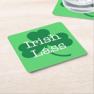 Posavasos Cuadrado De Papel Muchacha irlandesa, fiesta del día de St Patrick