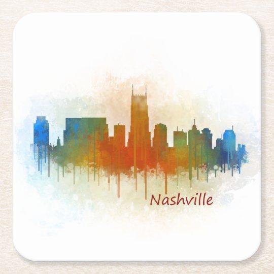 Posavasos Cuadrado De Papel Nashville Tennessee Skyline watercolor art v3