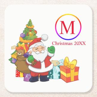 Posavasos Cuadrado De Papel Navidad clásico del monograma de Papá Noel