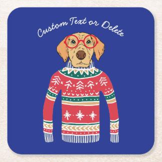 Posavasos Cuadrado De Papel Navidad feo divertido suéter, vidrios que llevan