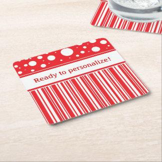 Posavasos Cuadrado De Papel Navidad rojo y blanco