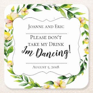 Posavasos Cuadrado De Papel No tome mi bebida, yo están bailando el práctico