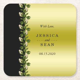 Posavasos Cuadrado De Papel Oro romántico floral elegante y favor negro del