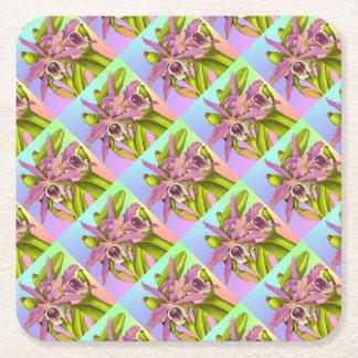 Posavasos Cuadrado De Papel Orquídeas rosadas coloridas
