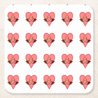 Posavasos Cuadrado De Papel Patos de mandarín en amor