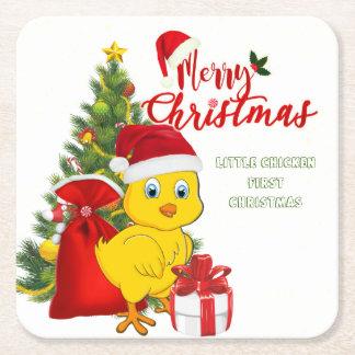 Posavasos Cuadrado De Papel Pequeño navidad del pollo del bebé