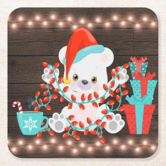 Posavasos Cuadrado De Papel Pequeño oso polar lindo con las luces de navidad