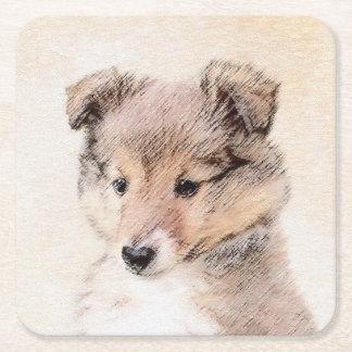 Posavasos Cuadrado De Papel Perrito del perro pastor de Shetland