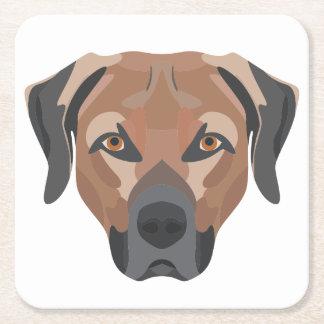 Posavasos Cuadrado De Papel Perro Brown Labrador del ilustracion