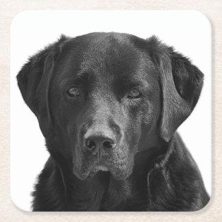 Posavasos Cuadrado De Papel Perro de perrito negro del labrador retriever