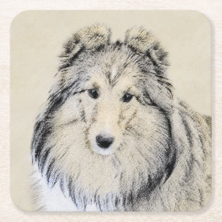 Posavasos Cuadrado De Papel Perro pastor de Shetland