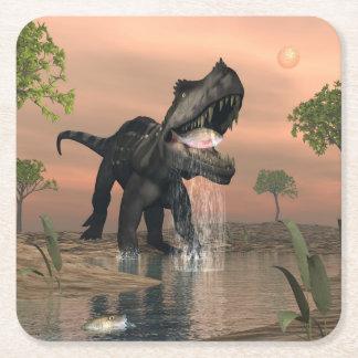 Posavasos Cuadrado De Papel Pesca del dinosaurio de Prestosuchus - 3D rinden