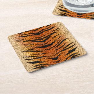 Posavasos Cuadrado De Papel Piel del animal del tigre de Bengala