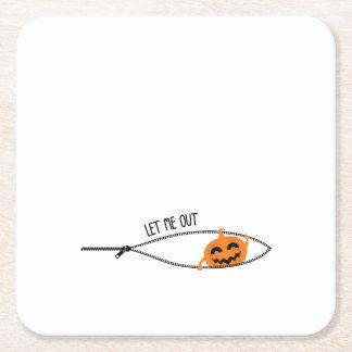 Posavasos Cuadrado De Papel Poco embarazo de Halloween de la calabaza