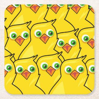 Posavasos Cuadrado De Papel Pollos amarillos brillantes preciosos de Pascua