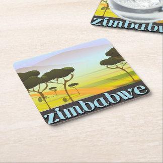 Posavasos Cuadrado De Papel Poster del viaje de las vacaciones de Zimbabwe