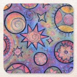 Posavasos Cuadrado De Papel Práctico de costa cósmico colorido caprichoso