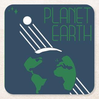 Posavasos Cuadrado De Papel Práctico de costa del espacio de la tierra