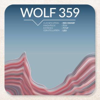 Posavasos Cuadrado De Papel Práctico de costa del espacio del lobo 359