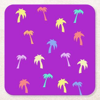 Posavasos Cuadrado De Papel Práctico de costa feliz y brillante de la púrpura