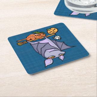 Posavasos Cuadrado De Papel Prácticos de costa cuadrados de Halloween del gato