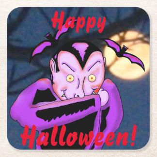 Posavasos Cuadrado De Papel Prácticos de costa de Halloween del vampiro
