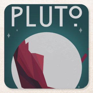 Posavasos Cuadrado De Papel Prácticos de costa del espacio de Plutón