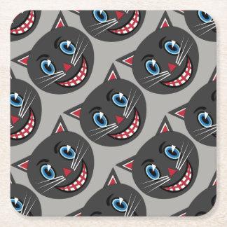 Posavasos Cuadrado De Papel prácticos de costa del papel de gato negro del