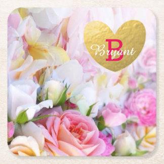 Posavasos Cuadrado De Papel Prácticos de costa florales de encargo elegantes