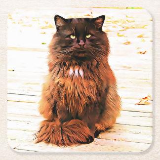 Posavasos Cuadrado De Papel Prácticos de costa hinchados del gato