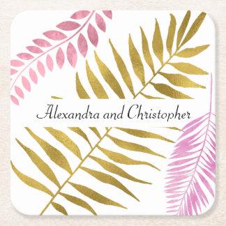 Posavasos Cuadrado De Papel Prácticos de costa tropicales color de rosa del