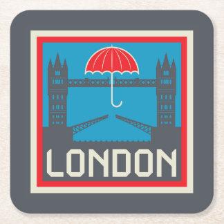 Posavasos Cuadrado De Papel Puente de Londres con el paraguas