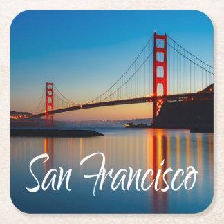 Posavasos Cuadrado De Papel Puente Golden Gate, San Francisco, California, los