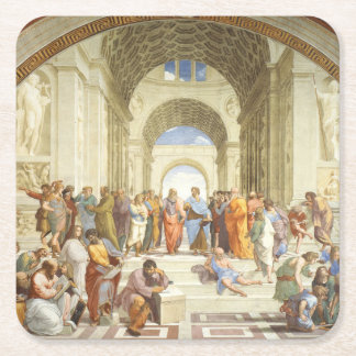 Posavasos Cuadrado De Papel Raphael - La escuela de Atenas 1511