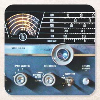 Posavasos Cuadrado De Papel Receptor de radio de la onda corta del vintage