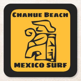 Posavasos Cuadrado De Papel Resaca de la playa de Chahue