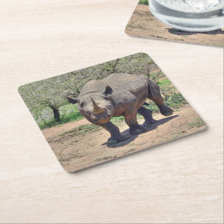 Posavasos Cuadrado De Papel rinoceronte