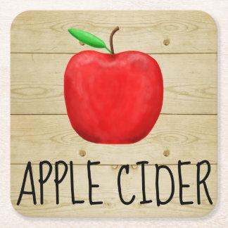 Posavasos Cuadrado De Papel Rojo Apple de la sidra de Apple