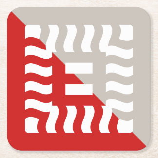 Posavasos Cuadrado De Papel Rojo reverso del número 8/de color topo partidos