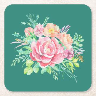 Posavasos Cuadrado De Papel Rosas florales del ramo de la acuarela del vintage