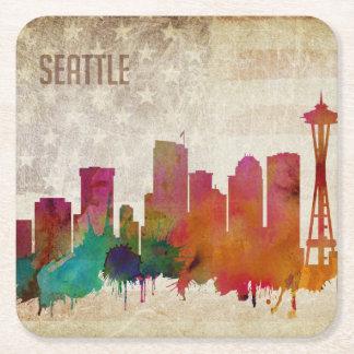 Posavasos Cuadrado De Papel Seattle, horizonte de la ciudad de la acuarela del