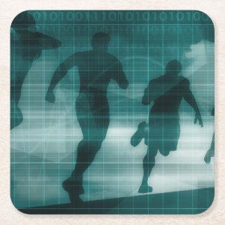 Posavasos Cuadrado De Papel Silueta del software del perseguidor del App de la