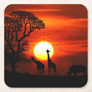 Posavasos Cuadrado De Papel Siluetas africanas del animal de la puesta del sol