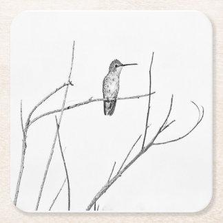 Posavasos Cuadrado De Papel Simplemente un colibrí en un palillo