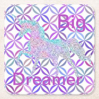Posavasos Cuadrado De Papel Soñador grande coloreado remolino púrpura de los