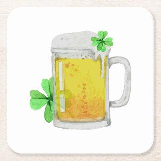 Posavasos Cuadrado De Papel Stein de la cerveza tréboles de las cuatro hojas