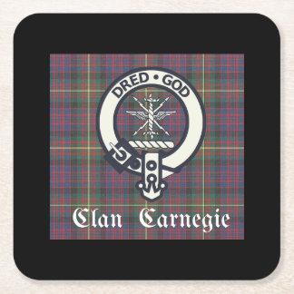 Posavasos Cuadrado De Papel Tartán del escudo de Carnegie del clan